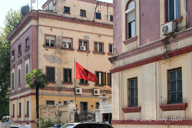 Albania-flag,-Tirana,-Albania