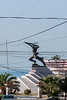 Statue-of-resistance-fighter-Musa-Ulqinaku with electric wires,-Durres,-Albania