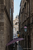 Narrow-side-street-4-&-San Bagio-church,-Dubrovnik,-Croatia