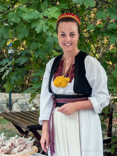 Young-Croatian-woman-2,-Ljuta-river-mill,-Croatia