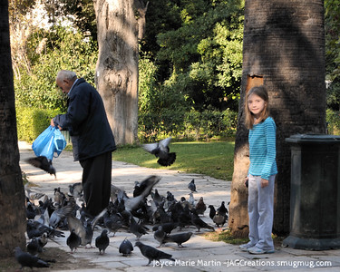 She came to be known as the Lil Bird Lady as she chased pigeons in every country!