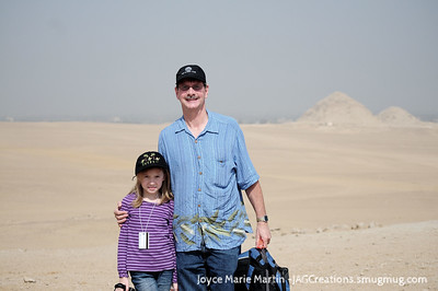 In the Sahara with two small pyramids in the background. Possibly for the wife and mother of they one that made the step pyramid which is the oldest pyramid in Egypt. To see the other pyramids you much see the Egypt gallery.