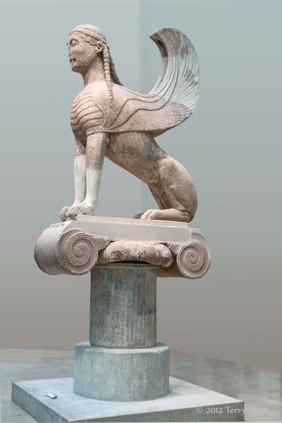 Winged-sphinx-of-the-Naxians,-Delphi-Museum,-Greece