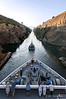 Clipper-Odyssey-in-middle-of-Corinth-Canal,-Greece