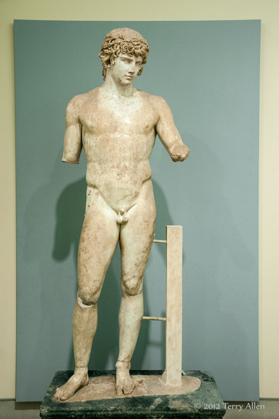 Statue-of-youth-Antinoos,-Delphi-Museum,-Greece