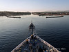 Clipper-Odyssey-at-entrance-to-Corinth-Canal,-Greece