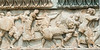 Battle-frieze-with-lion,-Delpi-Museum,-Greece