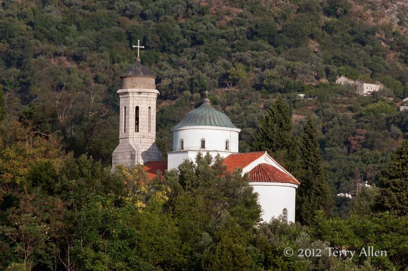 Small-church-near Cattaro Fjord ferry,- Montenegro