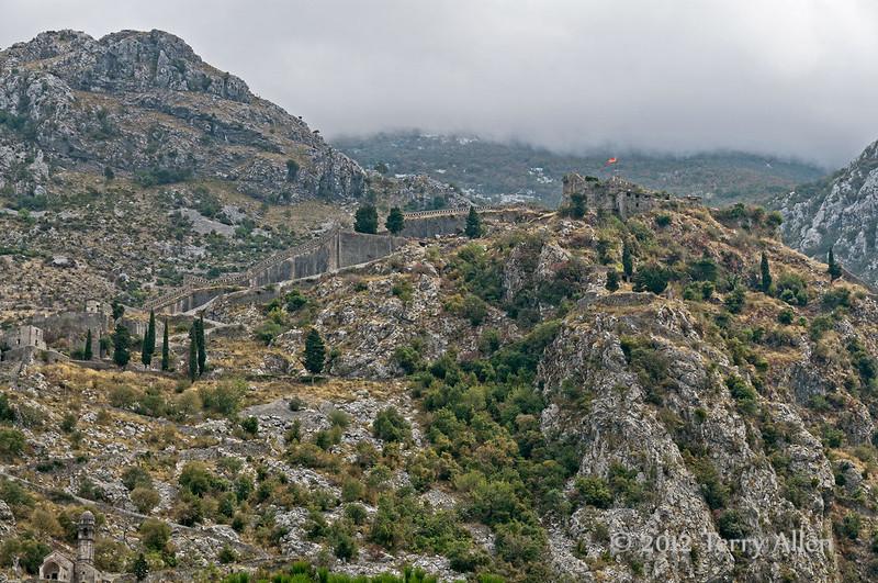 Fortress-of-St-Ivan-&-Mt-Lovcen,-Kotor,-Montenegro