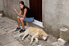 Girl-and-sleeping-dog-Erice, Sicily