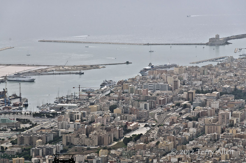 Trapani-harbour-seen-from-Erice, Sicily