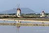 Two-windmills-&-sea-salt-piles-2,-Stagnone-lagoon,-Marsala,-Sicily