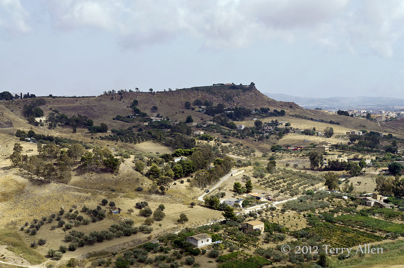 View-towards-Agrigento-from-Valley-of-the-Temples,-Sicily