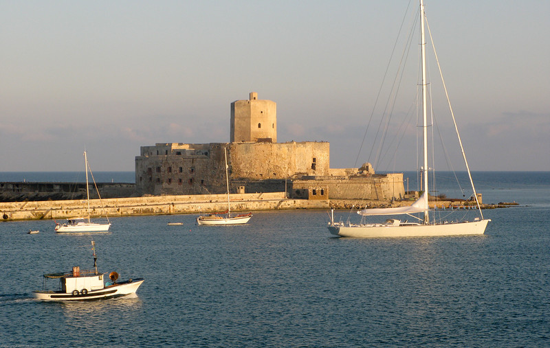 Entering the port of Trapani, Italy.
