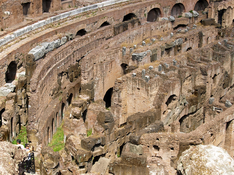 A view of the inside of the Colosseum in Rome, Italy.