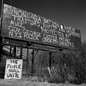 Billboard, Onondaga Nation Territory, near Syracuse, NY. April 2001