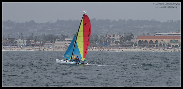 Sailing on Mission Bay, Belmont Park in the background, Whale watching trip, San Diego County, California, July 2011