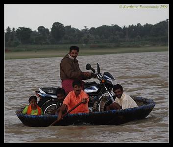 Kabini river ferry, bike on a theppa (coracle), Kabini, Mysore, Karnataka, June 2009