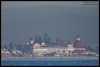 "Historic ""Hotel del Coronado"" in Coronado Island taken from boat during Jan 1st SDFO Pelagic Trip in Pacific Ocean, San Diego County, California, January 2012"