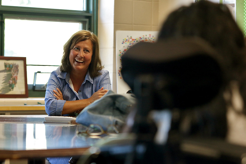 Principal Kerry Ann Cavanaugh has a good laugh as she listens to Meera Nair, a Tyngsboro Elementary School student with cerebral palsy on her visit to the school on Tuesday, October 3, 2017. Nair has not been able to attend school this year do to an operation she had to have. SUN/JOHN LOVE