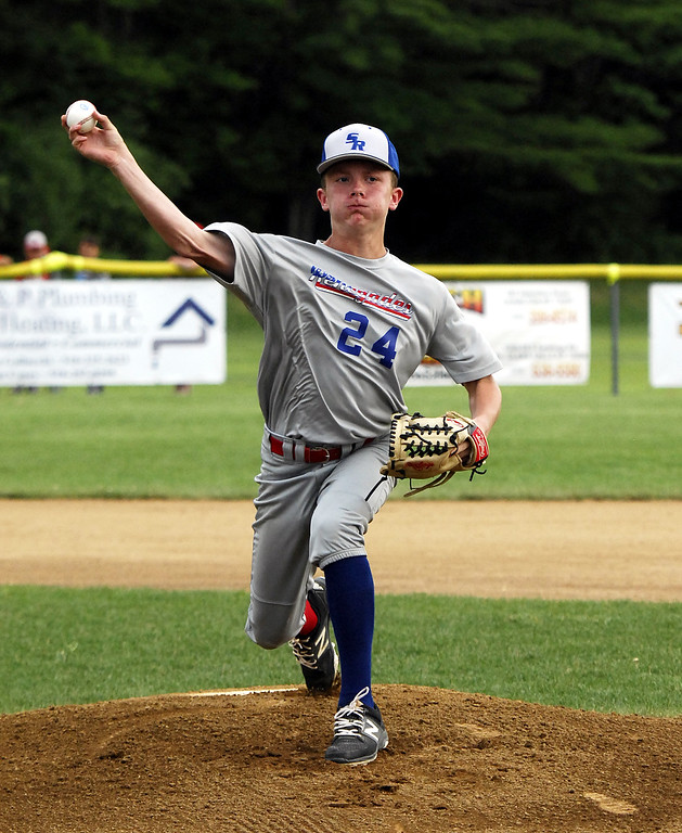 . STAN HUDy - SHUDY@DIGITALFIRSTMEDIA.COMFILE PHOTO - Austin Francis fires towards the plate against Niskayuna in the Eastern NY State finale versus Niskayuna. He combined with Andrew Dongelewic and Mike Kennedy for a perfect game in the championship.
