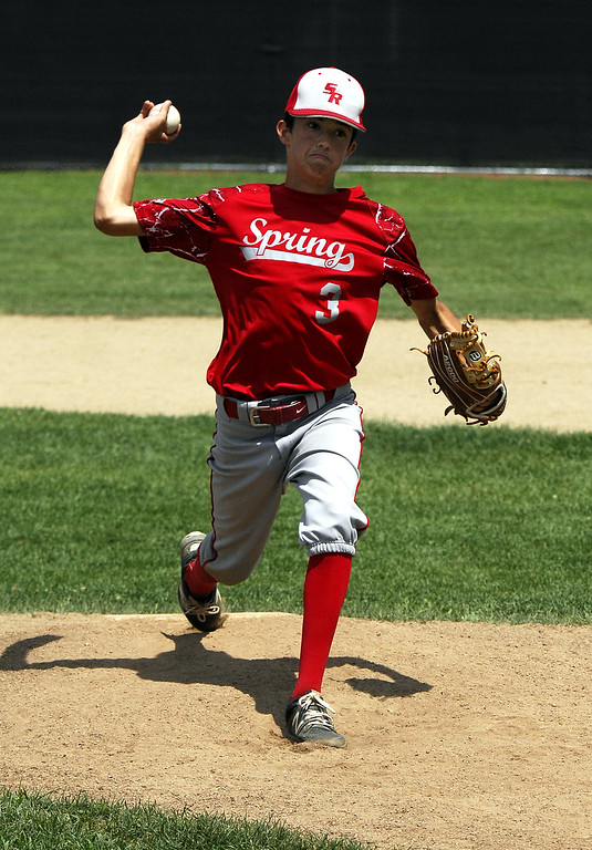 . STAN HUDY - SHUDY@DIGITALFIRSTMEDIA.COMSpring Youth Baseball\'s Andrew Dongelewic fires towards home in the third inning of the Cal Ripken Baseball 12U Middle Atlantic Regional Friday morning at the Clifton Common.