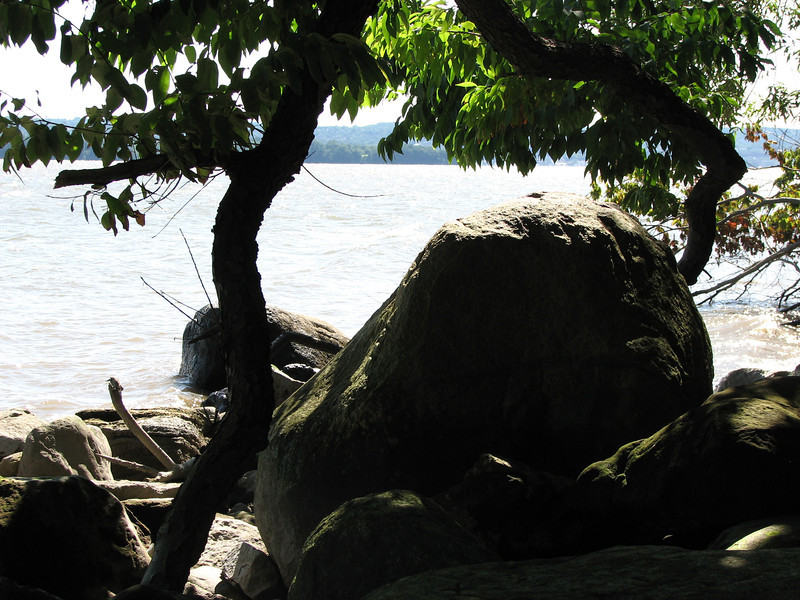 Looking over the boulder to the river. As the rock is quite near the water's edge, it is best to visit the site at low tide. This will assure you can get a good photo, but the boulder is not covered by water even at high tide (unless you show up during a storm surge!)
