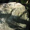 "The engraved boulder:  ""Andre the spy landed here Sept. 21, 1780."""