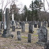 The Bassett graves are in the center of this photo. To locate the grave: From Housatonic St (Rt 20) take Fuller St, cross Greylock St and drive straight into the cemetery. At the top of the hill you will find a closed gate blocking the cemetery road. Leave your car and walk straight ahead past the gate. The oldest part of the cemetery will be on your left. Look for a large granite monument on your left with the names Cone-Johnson. That is the row you want. Walk down it about a third or  halfway across the cemetery to find Bassett's grave.