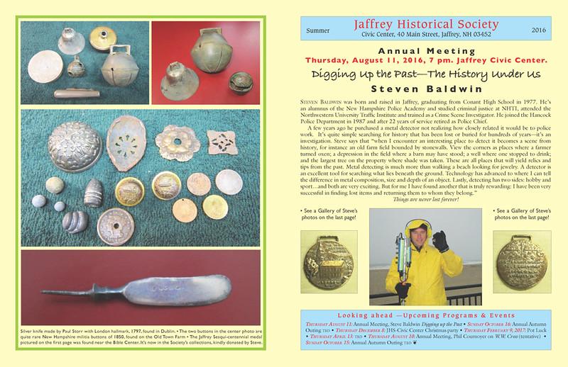 Jaffrey Historical Society Summer Newsletter