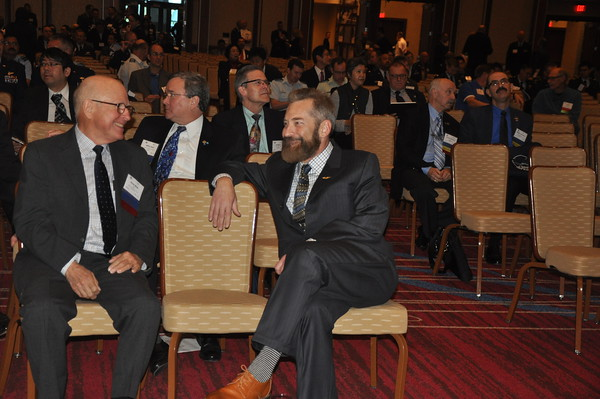 AsMA Past President, James Webb (left) and Daniel Hohman (right) during opening ceremonies.