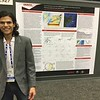 "2015 and 2016 RESESS intern Enrique Chon presents his poster ""Focal mechanisms from the HOBITSS ocean bottom seismology experiment, Hikurangi subduction zone, New Zealand"" at the 2016 AGU fall meeting. (Photo/Aisha Morris, UNAVCO)"