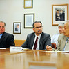 Mo Kahn (right), administrator of the Montachusett Regional Transit Authority, who has been put on paid administrative leave, talks as Bruno Fisher (left), MART deputy administrator (who has been named the agency's acting administrator) and Attorney Mark Goldstein (center), assistant Fitchburg City Solicitor who is representing MART, look on during Wednesday's MART emergency meeting in Fitchburg. Kahn was put on leave over concerns he was collecting both a pension and a full-time public salary in violation of state law.<br /> SENTINEL & ENTERPRISE / BRETT CRAWFORD
