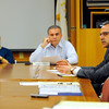 Attorney Mark Goldstein (2nd from left), assistant Fitchburg City Solicitor who is representing MART, seated next to Mo Kahn (right), administrator of the Montachusett Regional Transit Authority, who has been put on paid administrative leave, talks during Wednesday's MART emergency meeting as MART Advisory Board Chair Mayor Lisa Wong and board member Mayor Dean Mazarella look on.<br /> SENTINEL & ENTERPRISE / BRETT CRAWFORD