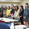 SENTINEL&ENTERPRISE/Ashley Green --Members of Mayor Lisa Wong's newly appointed Youth Commission. The students were welcomed at the City Council meeting on Tuesday evening. From left is Solveig Schilling, Vinnie Rodriguez, Gabriela Upson, Alyssaa Valcourt, Alyssa Phillips, Sophia Goncalves, Angela Salazar, Nazanin Beigi, Jilian Wolons, and Amanda Valcourt.
