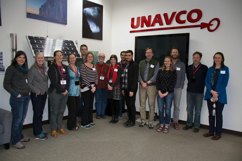 Module authors and UNAVCO staff at the 2018 GEodesy Tools for Societal Issues (GETSI) Materials Development Workshop.  Boulder, Colorado.  February 9, 2018.  (Photo/Daniel Zietlow, UNAVCO)