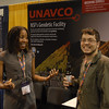 RESESS director Aisha Morris and 2009 and 2010 RESESS intern Fernando Martínez-Torres at the UNAVCO booth at the 2013 annual GSA meeting in Denver.
