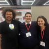 2017 RESESS interns Steven Moran, Theron Sowers, and Fatima Niazy at the 2017 annual meeting of the Geological Society of America.  October 25, 2017.  Seattle, Washington.  (Photo/Aisha Morris, UNAVCO)