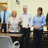 The Lancaster Board of Selectmen present a proclamation naming October Accessibility Awareness Month during a meeting at the Lancaster Community Center on Tuesday evening. From left is Executive Assistant Kathy Lamb, Selectman Stanley Starr, Chair of the Board of Selectmen Jean Syria, Chair of the Commission for Disability Michael McCue, Vice Chair/Clerk Susan Smiley, and Town Administrator Ryan McNutt. SENTINEL & ENTERPRISE / Ashley Green