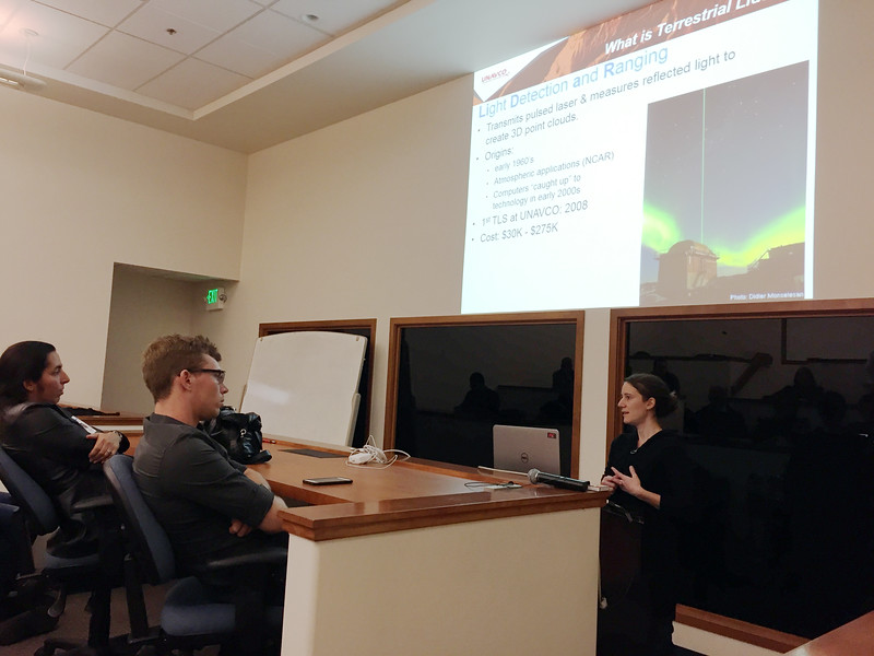UNAVCO Data Engineer Marianne Okal speaks about terrestrial laser scanning (TLS) to field trip participants on SSA's Friday lab tour. Boulder, Colo., April 21, 2017. (Photo/Beth Bartel, UNAVCO)