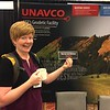 SSA 2017 attendee Emily Wolin, of the USGS, likes her crust deformed--and has the bumper sticker to prove it! Denver, Colo., April 20, 2017. (Photo/Beth Bartel, UNAVCO)