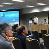 UNAVCO's Karl Feaux discusses using GPS met infrastructure to improve tsunami early warning at the 2018 meeting of the Seismological Society of America.  May 17, 2018.  Miami, Florida.  (Photo/Christian Walls, UNAVCO)