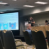 UNAVCO's Kathleen Hodgkinson delivers a presentation at the 2018 meeting of the Seismological Society of America.  May 16, 2018.  Miami, Florida.  (Photo/Ken Austin, UNAVCO)
