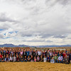 Group photo from the 2014 UNAVCO Science Workshop with a backdrop of Colorado's Front Range. (Photo/Travis Bildahl)