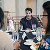 Students and early career scientists chat over lunch at the 2018 UNAVCO Science Workshop.  March 27, 2018.  Broomfield, Colorado.  (Photo/Beth Bartel, UNAVCO)