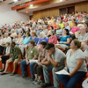 A meeting was held at Hawthorne Brook Middle School in Townsend on Thursday evening. The crowd voted a unanimous vote opposing the pipeline. SENTINEL & ENTERPRISE / Ashley Green