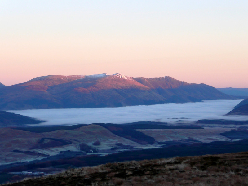 Cloud inversion seen on the walk in to the north face of the Ben. Taken from near the half way lochan.