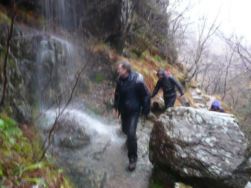 A really dreich day...water cascading onto the path up into the Lost Valley
