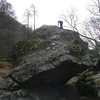 Neil climbs to the top of the Bowderstone