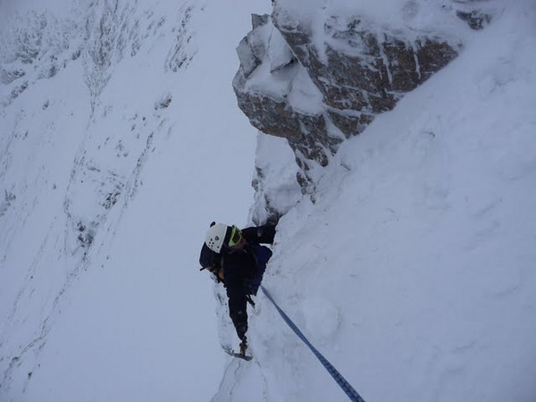 Gregorz on the buttress to the left of Moonlight Gully.